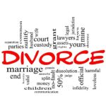 Divorce Word Cloud Concept scribbled in red with great terms such as end, marriage, end, laws, infidelity, split, children, and more.