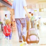 father and little daughter walking in the airport, family travel