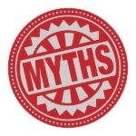 Abstract stamp or label with the text Myths written inside, vector illustration